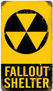 Fallout Shelter rusted steel sign  (pst 148)